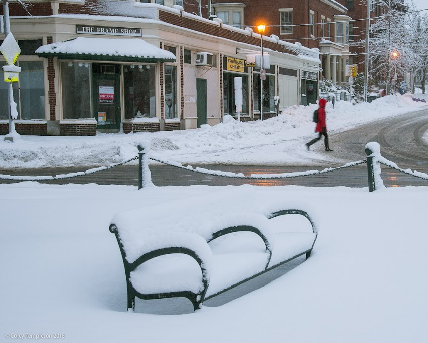 Not from today, but a recent morning in Longfellow Square. The design of the bench is accentuated by the recent snow.