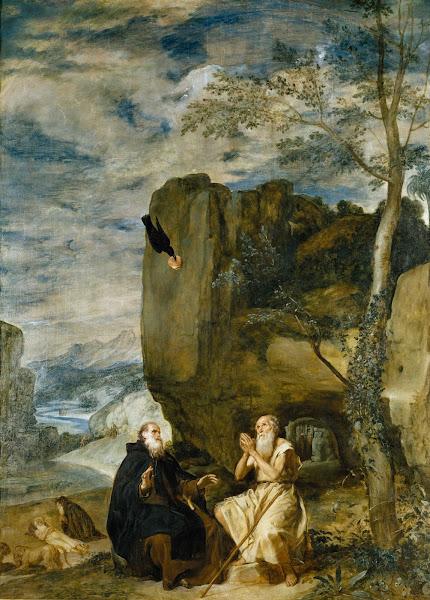 Диего Веласкес - Святой Антоний в гостях у первого отшельника Павла Фивейского (ок.1634)