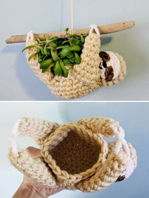 Sloth Planter - Crochet Pattern