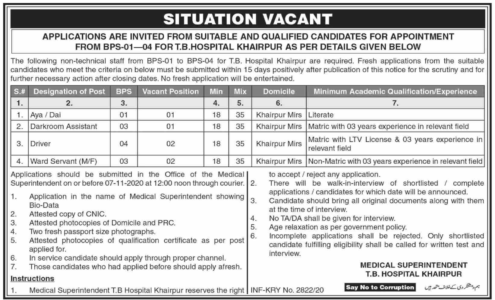 TB Hospital Khairpur Job Advertisement in Pakistan Jobs 2021