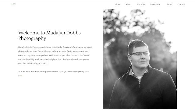 Screenshot of Madalyn Dobbs Photography's Website