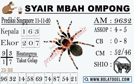 Syair Mbah Ompong SGP Rabu 11 November 2020
