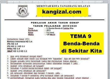 Soal UAS PAT UKK Kelas 5 Tema 9 Kurikulum 2013 Revisi 20192020 kangizal.com