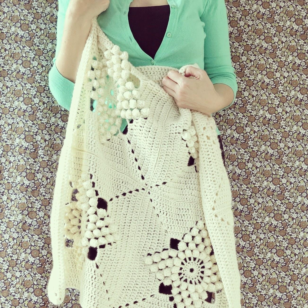 byHaafner, crochet, Smitten, blanket, vintage pattern, popcorn stitch