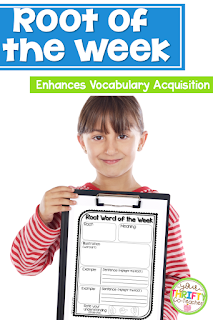 Implementing a root of the week routine in your classroom can help enhance students' vocabulary acquisition. It is an effect and engaging way to get students to interact with and learn the meaning of morphemes, roots, and affixes making it easier for students to access the meaning of multiple words.