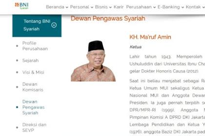 BNI Syariah: Ma'ruf Amin Jabat Ketua Dewan Pengawas Sejak 2010