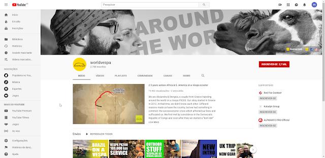 canal do youtube de um casal que viaja o mundo em cima de uma vespa