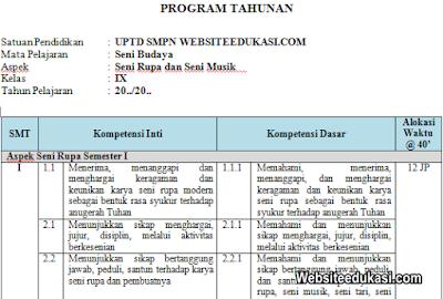 Prota Seni Budaya Kelas 9 SMP/MTs K13 Revisi 2019