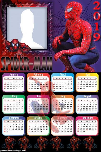 Free Printable Spiderman 2019 Calendar.