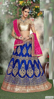 Net Solid With Embroidered Lehengas