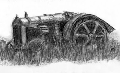 abandoned Fordson Ford tractor antique charcoal sketch