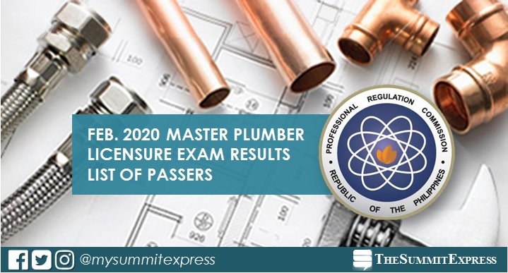 FULL RESULTS: February 2020 Master Plumber board exam list of passers, top 10