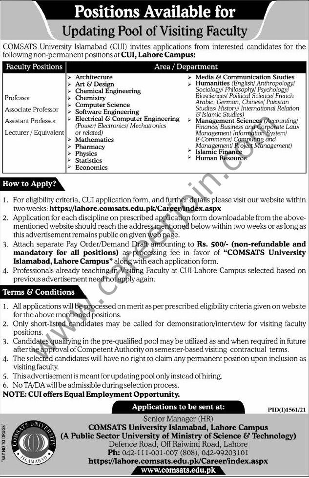 https://lahore.comsats.edu.pk/career/index.aspx - CUI COMSATS University Islamabad Jobs 2021 in Pakistan