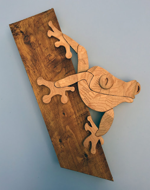 Frog wooden wall art using recycled wood made by ian davy brown