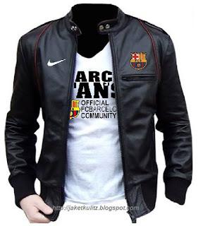 Gambar Jaket Kulit Barca Logo Nike Sporty