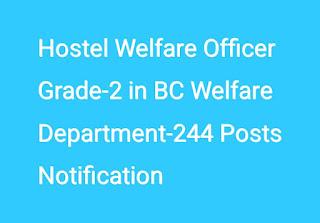 Hostel Welfare Officer Grade-2 in BC Welfare Department-244 Posts Notification