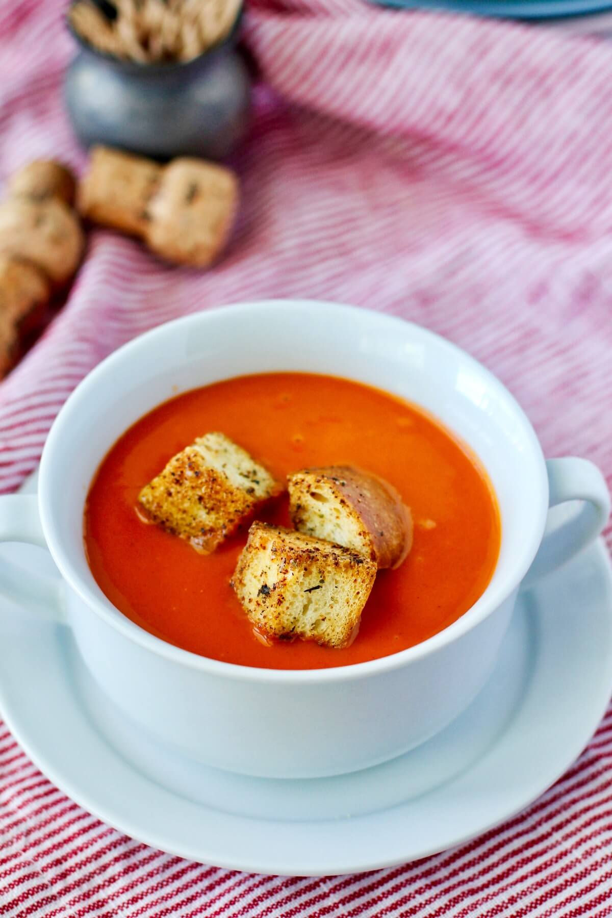 Roasted Tomato and Pepper Soup with croutons