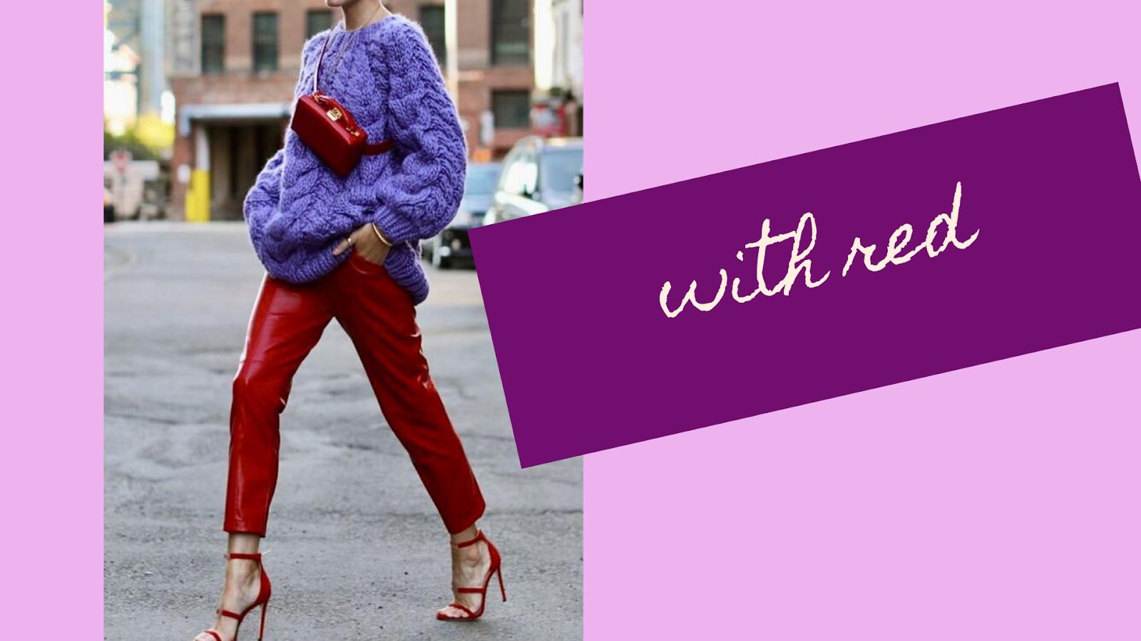 como combinar el lila con rojo en la ropa
