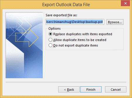 Backup IMAP Mailbox to PST