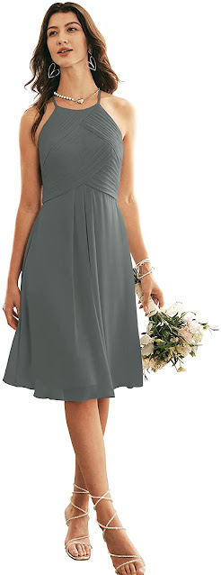 Short Grey Chiffon Bridesmaid Dresses