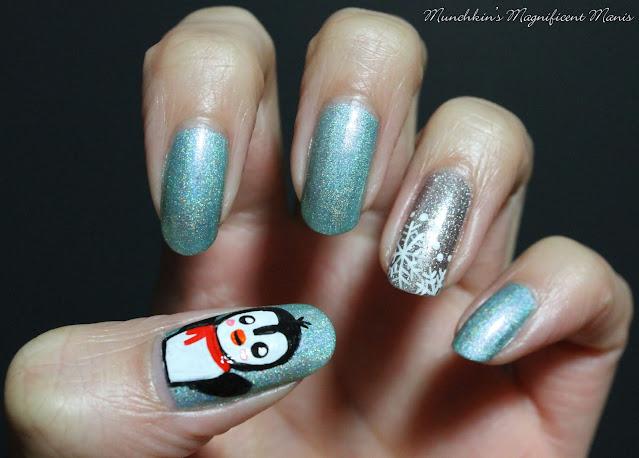 Penguin Winter Nail Design
