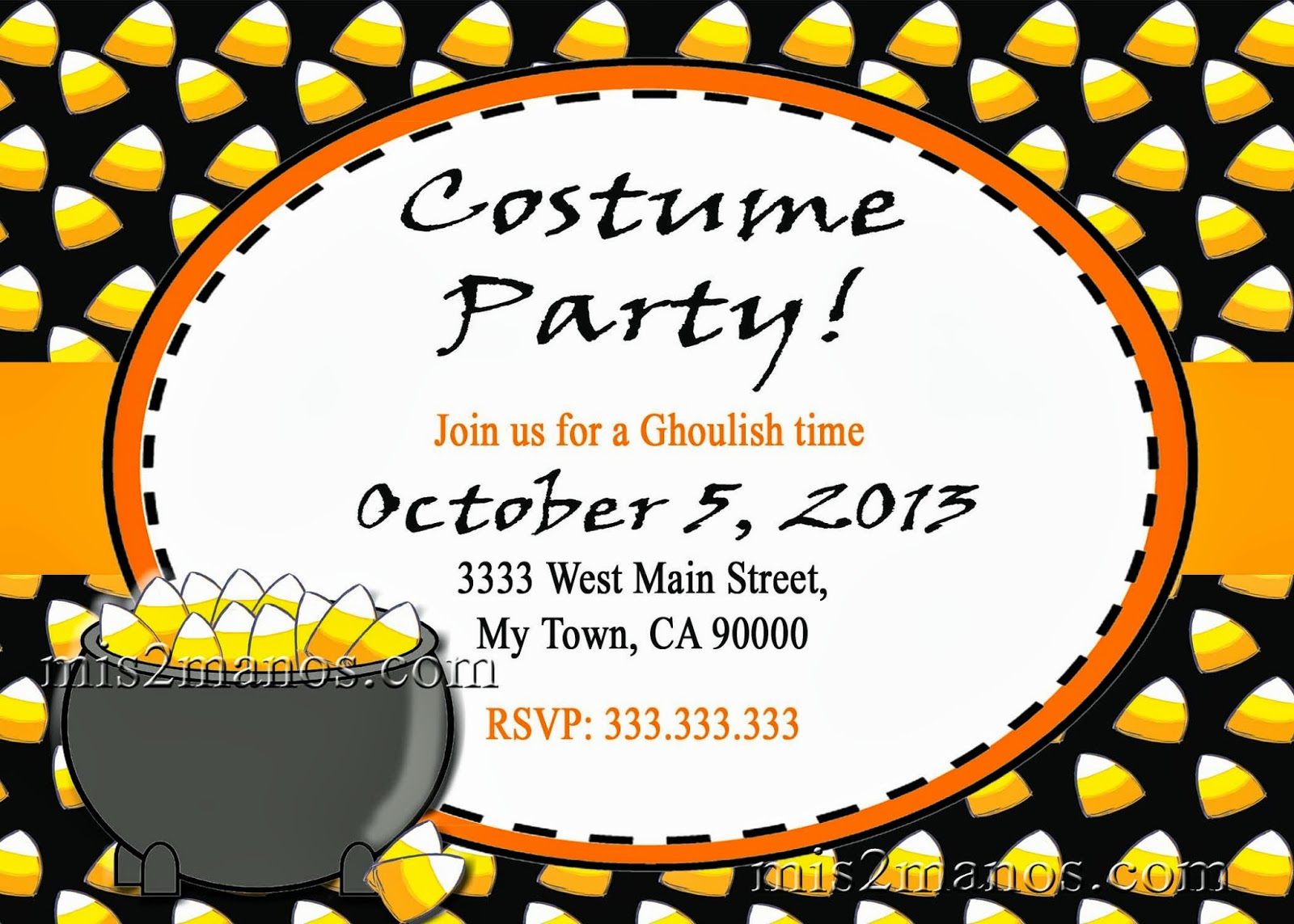 Halloween Costume Party Invitation Printable Kids Corn Candy Invites Personalized Custom Orders