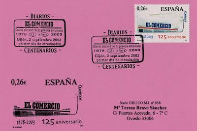 Tarjeta del matasellos PDC del sello del 125 aniversario de El Comercio. Gijón