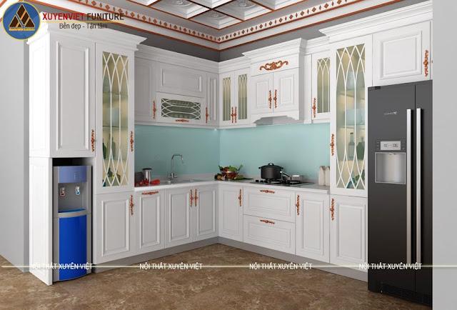 Mẫu tủ bếp nhựa tân cổ điển cao cấp cho biệt thự