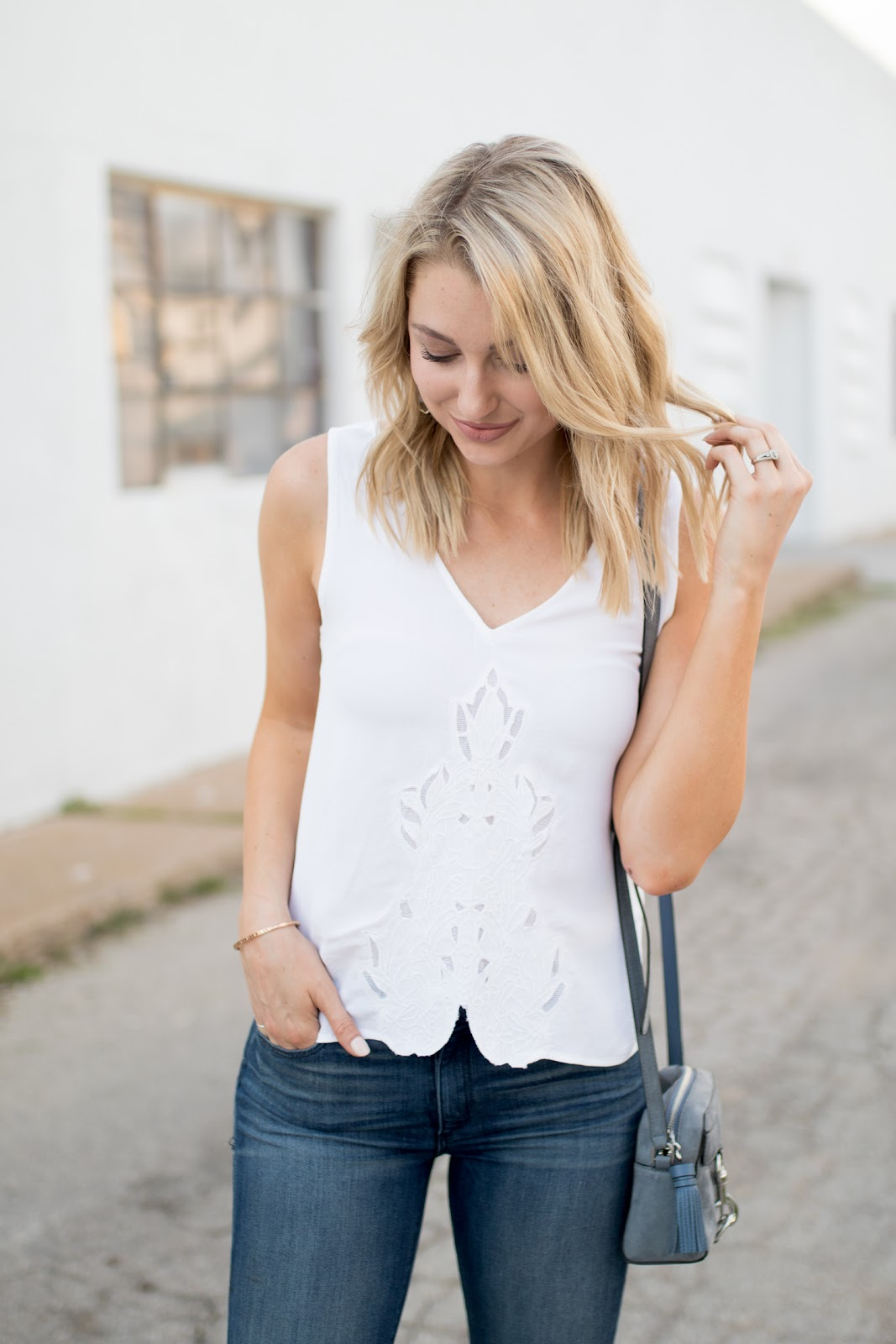White top with eyelet details