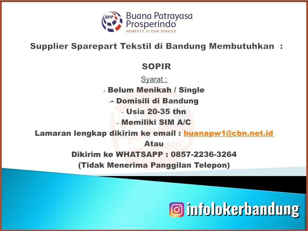 Lowongan Kerja Supir Buana Patrayasa Prosperindo Bandung Januari 2020