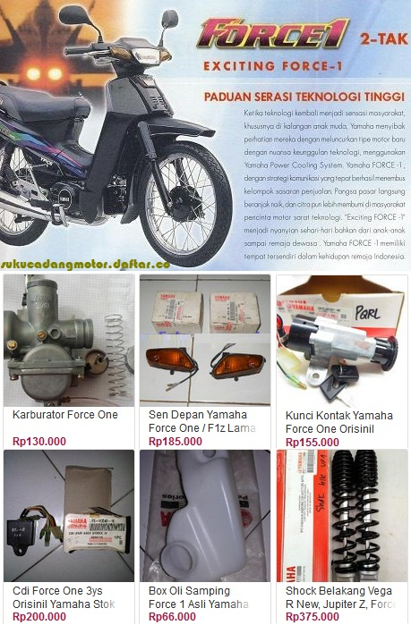 Yamaha Force 1 One parts catalog