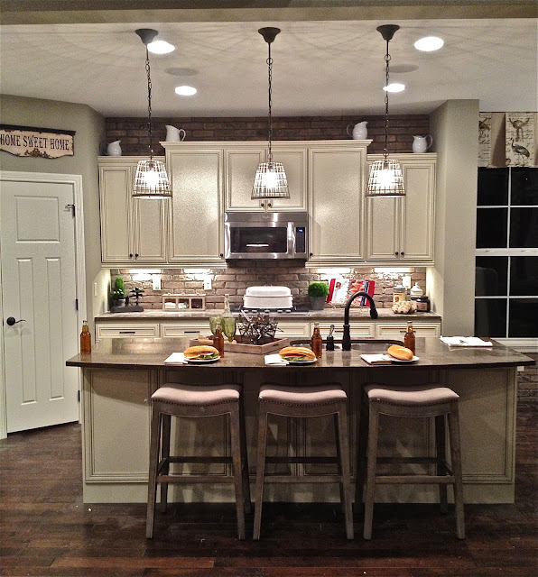 an inspiring kitchen island light fixtures in the casual white kitchen completed with long table and simple chairs