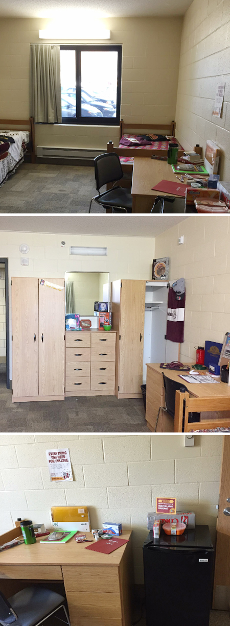 ... Desk, Mini Fridge, Armoire And Set Of Shared Drawers. Here Is An  Example Of An Almost Empty Room Similar In Layout To The One We Were  Working With. Part 86