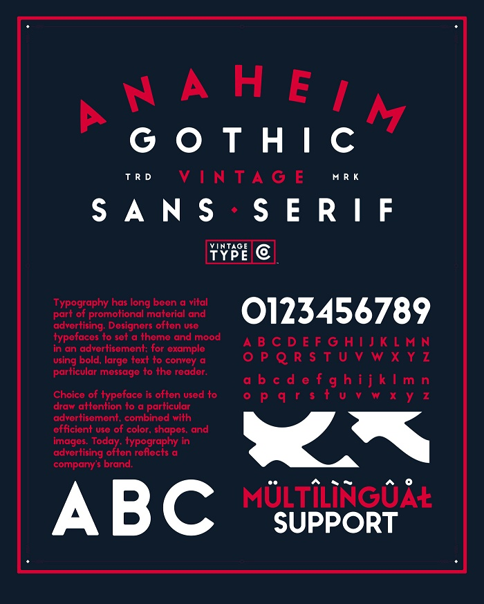 Anaheim Gothic Is A Bold Geometric Sans Serif Display Font Inspired By And Designed For Vintage Logo Packaging Design Despite This