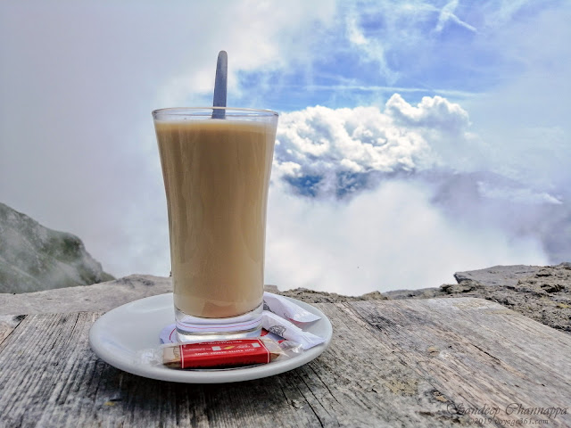 Sipping hot chocolate at the Hafelekar restaurant located at an altitude 2,255m above sea level