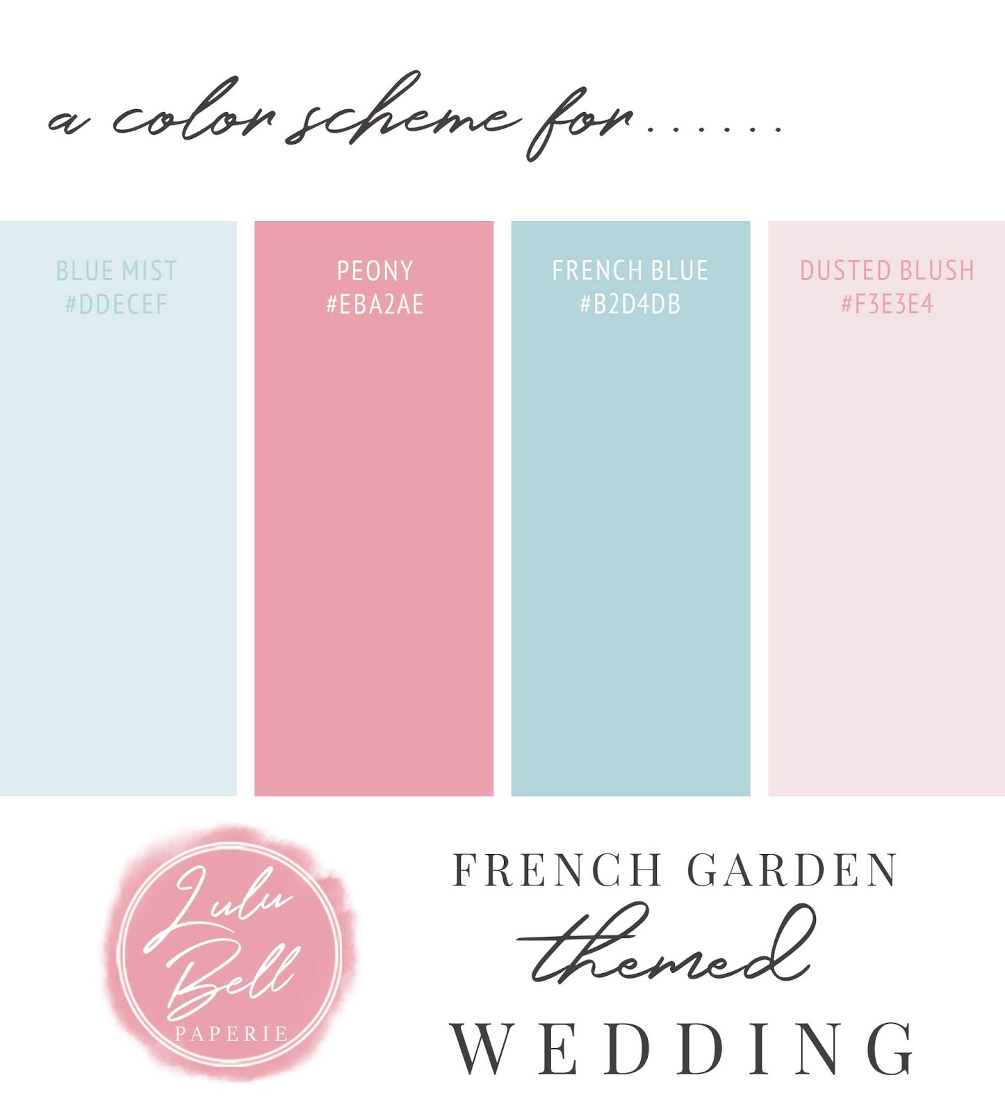 French Garden Wedding Color Swatch Palette Card
