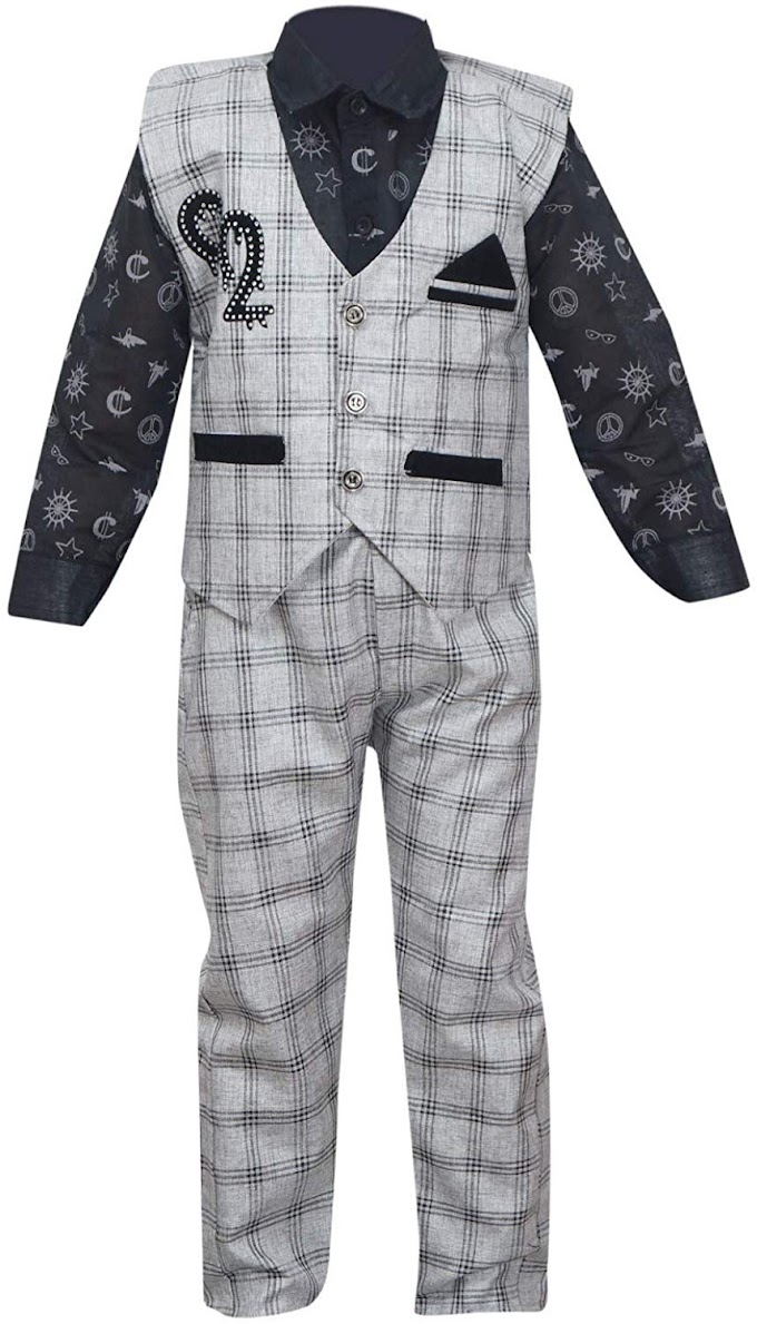 Vbirds Boy's Cotton Waistcoat, Shirt and Trouser Set In Grey Color - NY