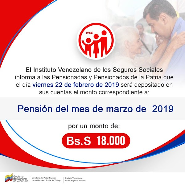 Aviso Oficial IVSS Pago Pensión Marzo 2019