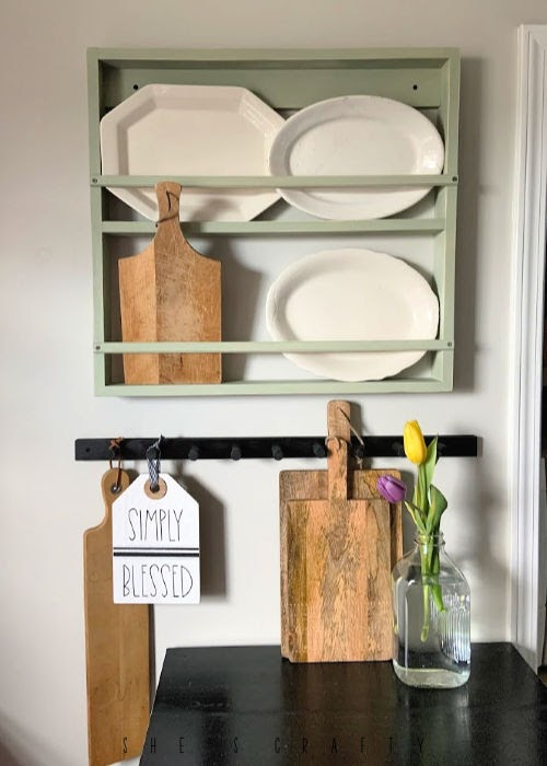 Wall Mounted Rack to hold dishes and platters - easy DIY instructions for making
