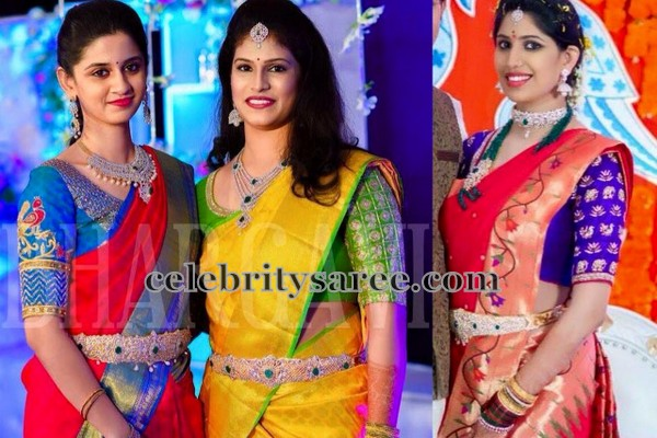4e67c8383ac66e Blue elbow length blouse with peacock floral design on the sleeves and cut  work around the neck. Middle  Yellow uppada saree with contrast green blouse  with ...