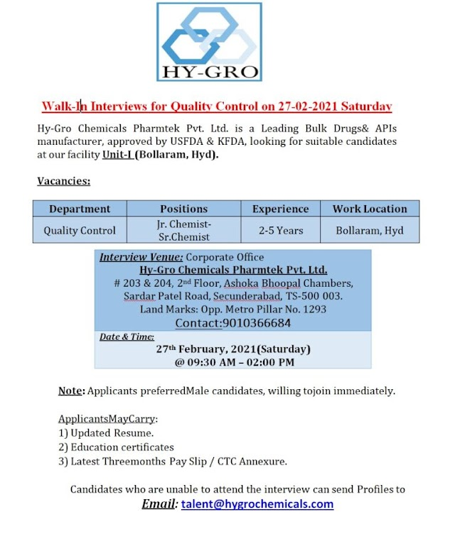 Hy-Gro chemicals | Walk-in interview for QC at Hyderabad on 27th Feb 2021