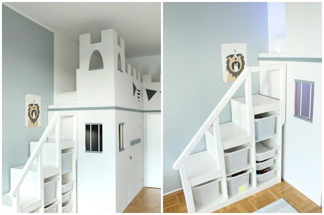 IKEA Hack Hochbett selberbauen Treppe Stuva Ritterburg Ritterbett Kinderzimmer Gefängnis Jules kleines Freudenhaus