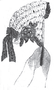 "Satin ""puffed"" bonnet from Peterson's Magazine, February 1865."