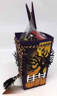 Linda Vich Creates: Halloween Scenes Popcorn Treat Box. Elegant Eggplant Popcorn Box embellished with spooky Halloween scenes.