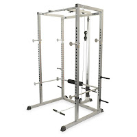 Valor Fitness BD-7 Power Rack with Lat Pull, pull-up bar, low pulley, utility bar, weight plate storage pegs, weight bar supports, squat safety bars, compatible with 7ft barbell