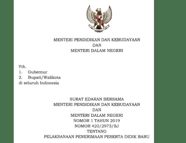 Surat Edaran Pelaksanaan PPDB 2019