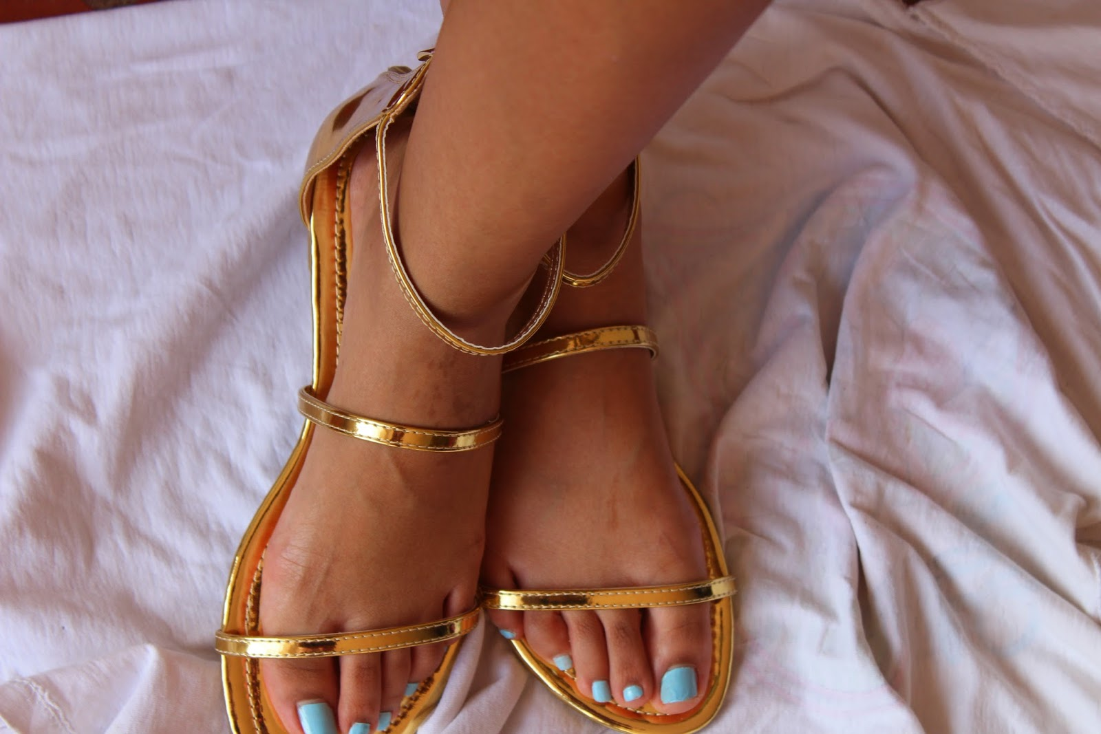 Gold Mirror High Ankle Triple Straps Open Toe Jelly Sandal