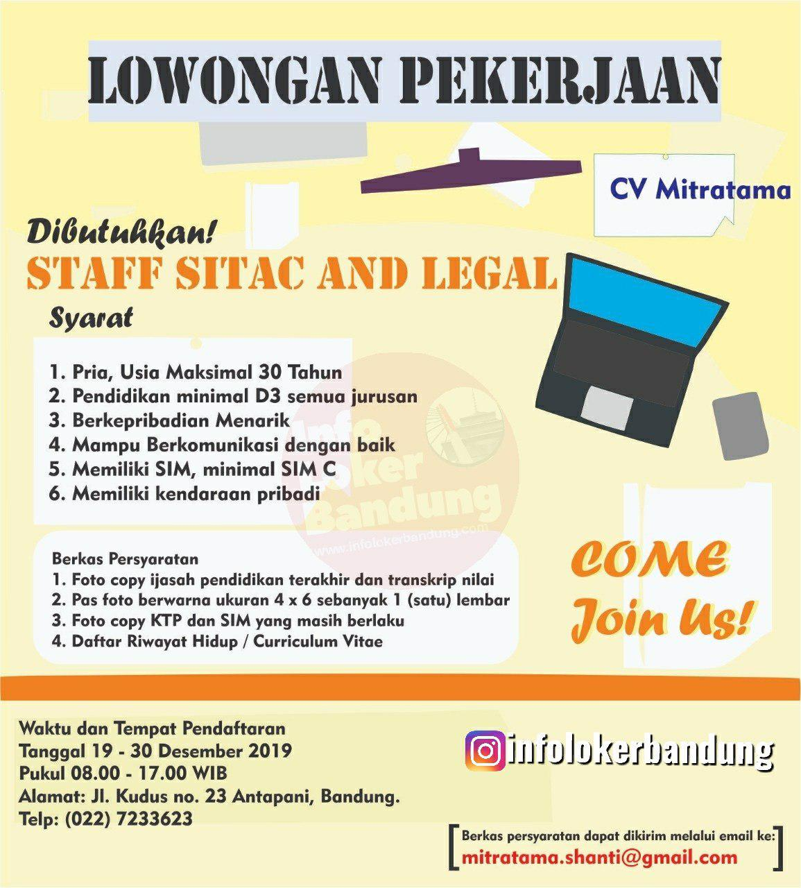 Lowongan Kerja Staff Sitac & Legal CV. Mitratama Bandung Desember 2019