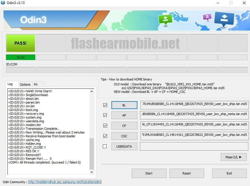 Flashear, instalar firmware original Samsung Galaxy J7 Neo (SM-J701M) Android 8.1 binario 6