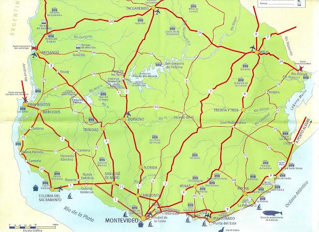 Mapa rodoviário do Uruguai